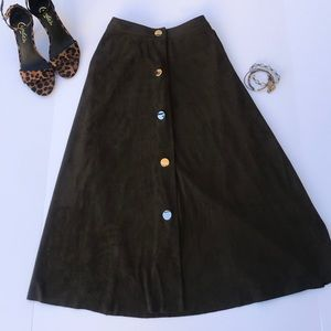Zara • A-Line Brown Faux Suede Skirt Size: Med